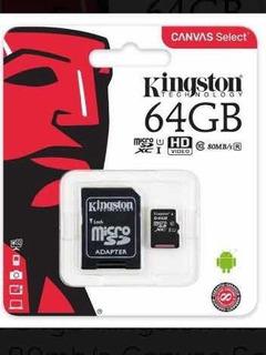 Memoria Micro Sd Cca 64 Gb Kingston Clase 10