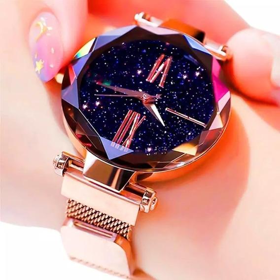 Relógio Feminino Tendência Céu Estrelado + Brinde