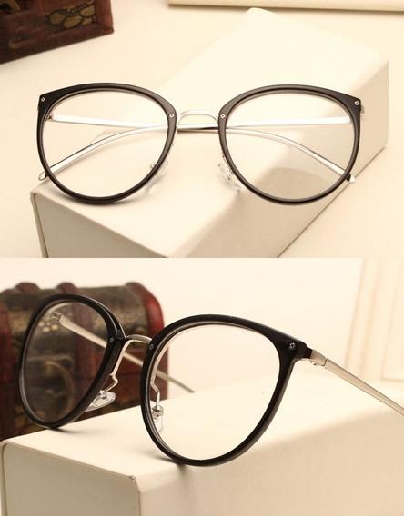 Armação De Luxo Redonda Com Haste De Metal Para Óculos De