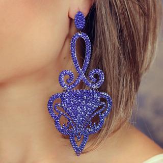Brinco Festa Cristal Preciosa Luxo Capri Blue - Br010253