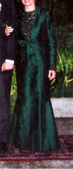 Vestido Longo Mãe De Noiva Tafetá Esmeralda / Bord Italiano