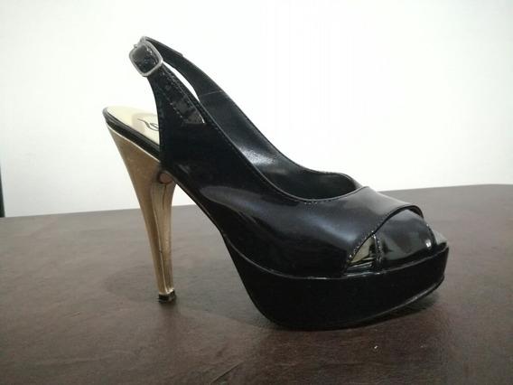 Zapato Charol Negro Taco Dorado Talle35