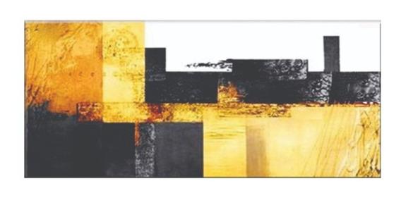 Quadro Pintura Tela Abstrato Amarelo Preto 80 Cm X 1,80 M