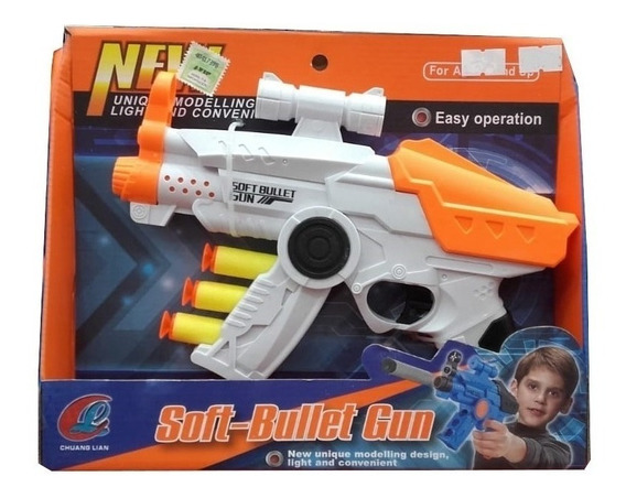 Pistola Con Balas De Goma Con Mira Simil Nerf Nenes Original