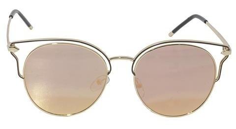 Óculos De Sol Feminino Lente Rosa Armação Vazada Rose