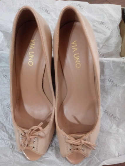Zapatos Mujer Via Uno Nude De Fiesta Suela De Goma Febo