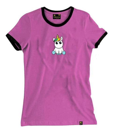 Camisetas Femininas Baby Look Tumblr Desenho Fofo Unicórnios