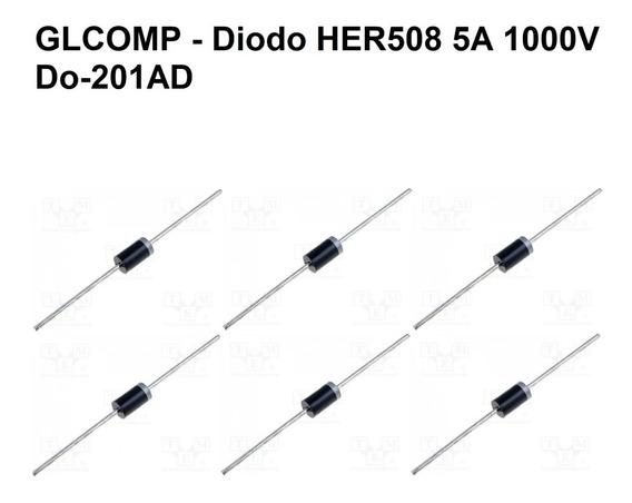 Her508 Diodo Retificador Ultra Rápido 5a 1000v Kit C/ 20 Pçs