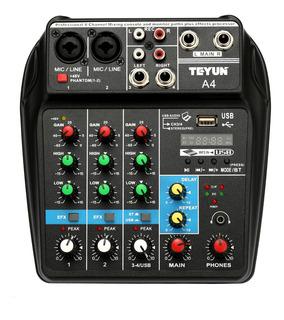 Tu04 Bt Consola Mezcla Sonido Grabar 4 Canales