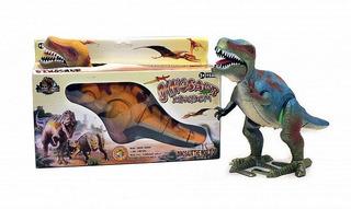 Dinosaurio Mediano De Juguete Camina Luces 28 Cm T-rex