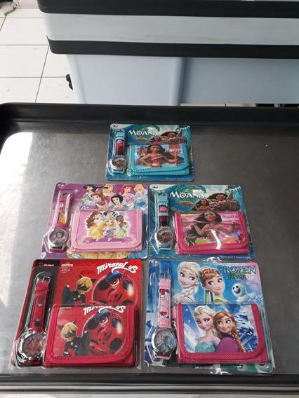 Kit 6 Relógio C/ Carteira Desenho Disney Infantil Promoção