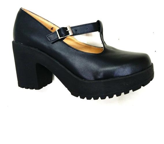 Zapato Tacon Plataforma Colegiala Cab Negro