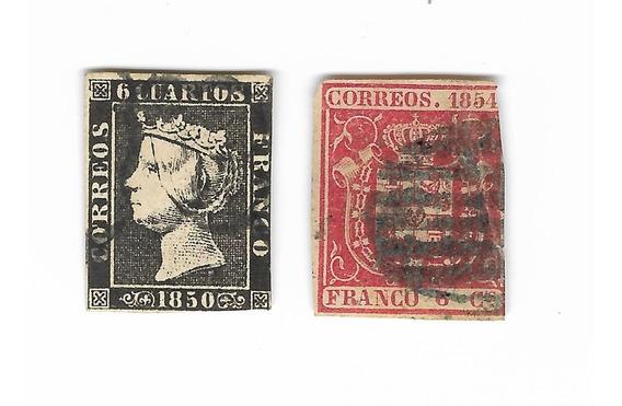 Lt650. Dos Estampillas Muy Antiguas De España.
