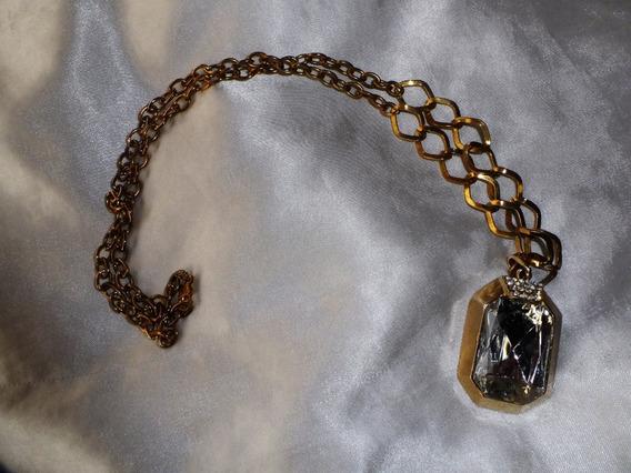 Lindo,elegante Colar Vintage Dourado/acrílico,itália,déc.70