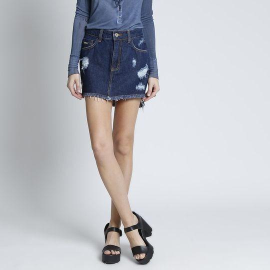 Saia Triton Barato/promoção Reta Jeans Com Puídos Azul - 38