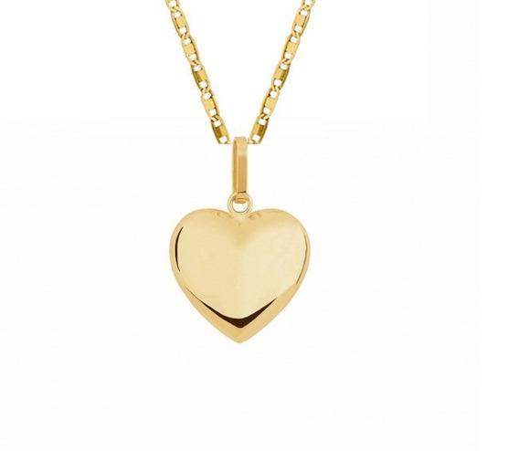 Corrente 50cm Colar Banhada A Ouro 18k + Pingente De Coração