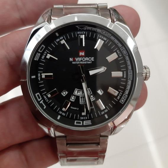 Relógio Masculino Prata Luxo Aço Naviforce Nf 9038