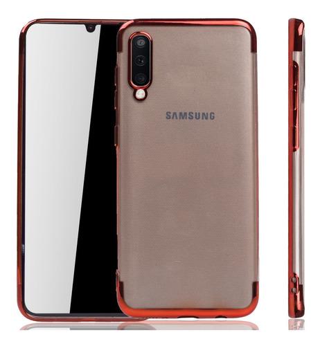 Forro Samsung A50 Transparente Borde Color Goma Extra Fuerte