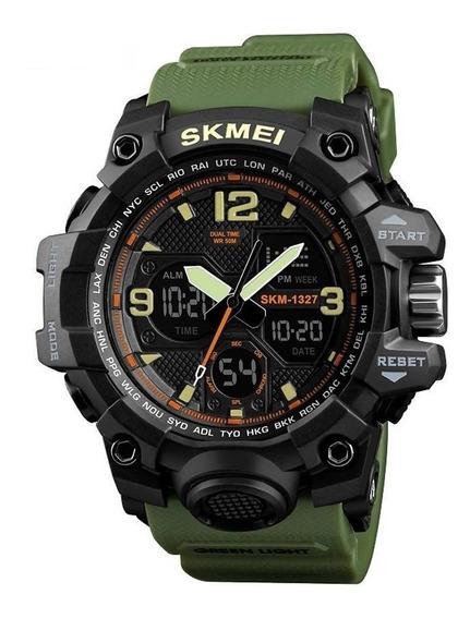 Relógio Masculino Skmei Anadigi 1327 Preto E Verde Pulso