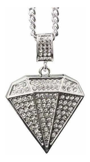 Corrente Iced Diamante Grande Cravejado 60 Cm (envio Rápido)