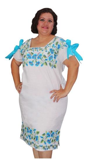 Vestido Tipo Hipil Con Flores Azules Bordado A Mano