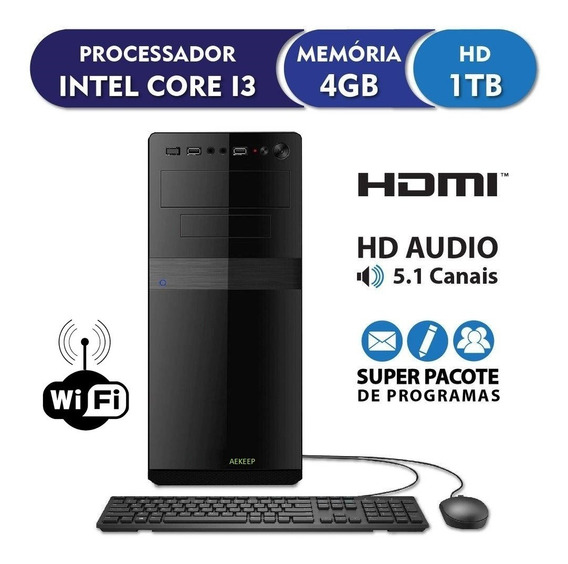Pc Cpu Intel Core I3 + 4gb Ram + Hd 1 Tera + Dvdrw + Wi Fi