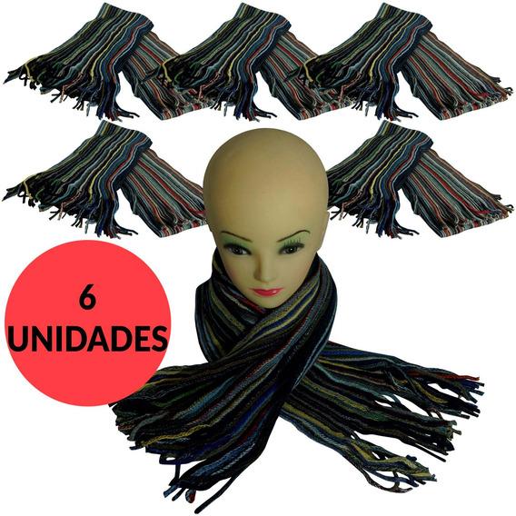 Bufanda De Lana Rayada Multicolor Con Flecos X 6 Unidades -