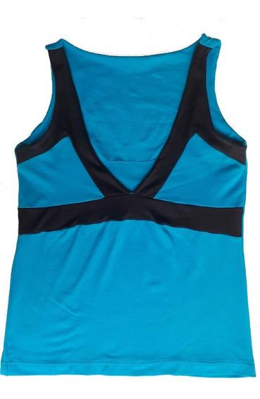 Remera Musculosa Azul Turquesa Y Negro Talle 1 Lycra