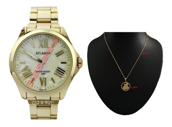 Relógio Feminino Dourado+corrente E Pingente São Joge+caixa
