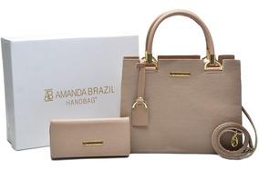 Bolsa Grande E Pequena + Carteira Amanda Brazil C/ Alça