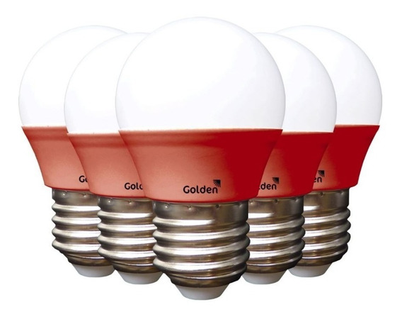 Kit 5 Lâmpadas Led Bolinha 3w G45 Colorida Vermelha Golden
