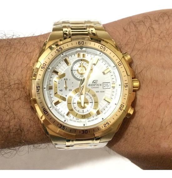 Relógio Masculino Dourado Branco Ouro 18k Pulseira Aço Top