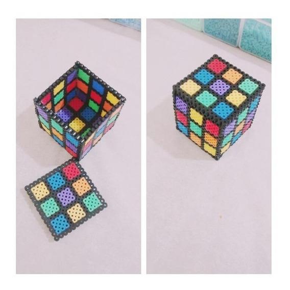 Porta Jóias Porta Treco Cubo Mágico Perler Beads 6,5cm