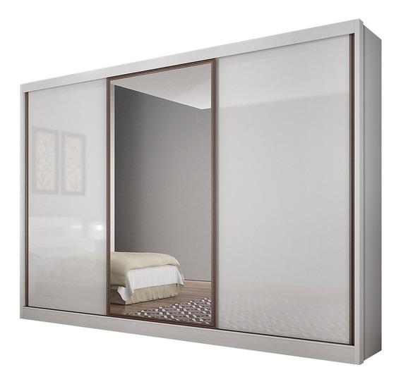 Guarda Roupa Casal 3 Portas Novo Horizonte Branco C/ Espelho