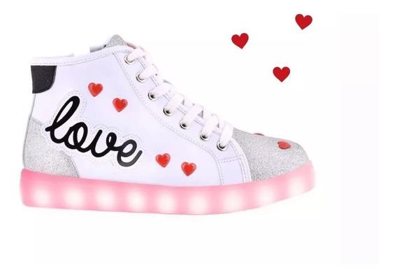 Zapatillas Botita Footy Con Luz Led Love Blanca Fty Calzados