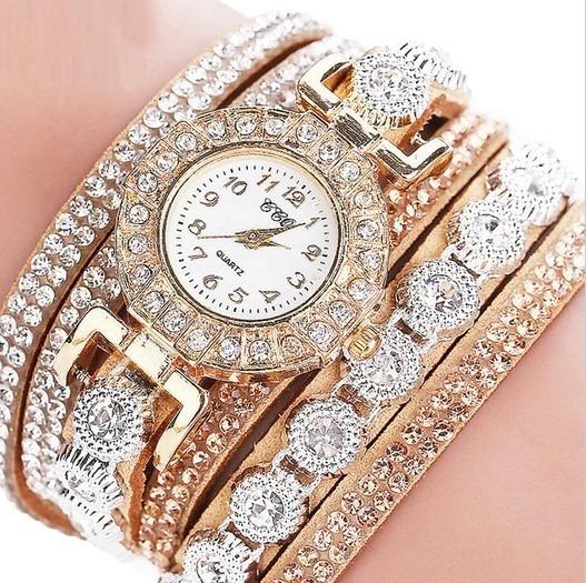 Relógio Feminino Ccq Pulseira Bracelete Pingente Luxo