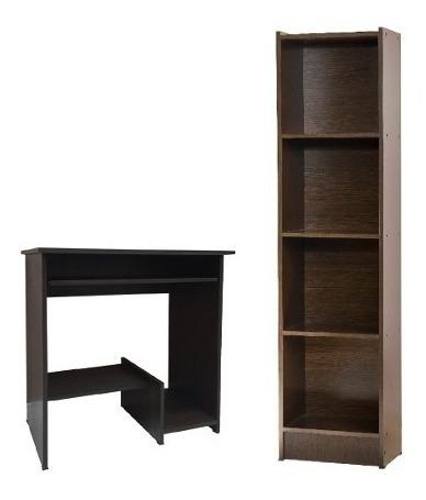 Combo Biblioteca 4 Estantes + Escritorio Mesa De Compu #