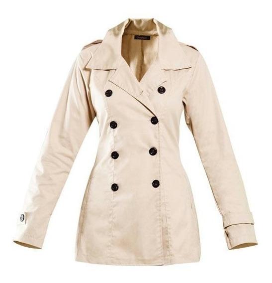 Casaco Sobretudo Trench Coat Bege Feminino Militar Plus Size