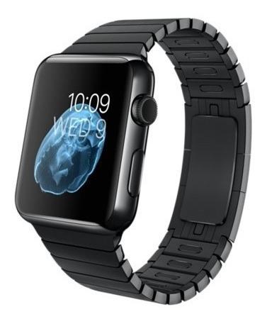 Apple Watch 42mm Aço Com Vidro Safira E Pulseira Preta Elos
