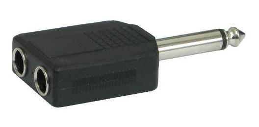 Adaptador Plug 6.5mm Mono A 2 Jack 6.5mm Hembra Mono