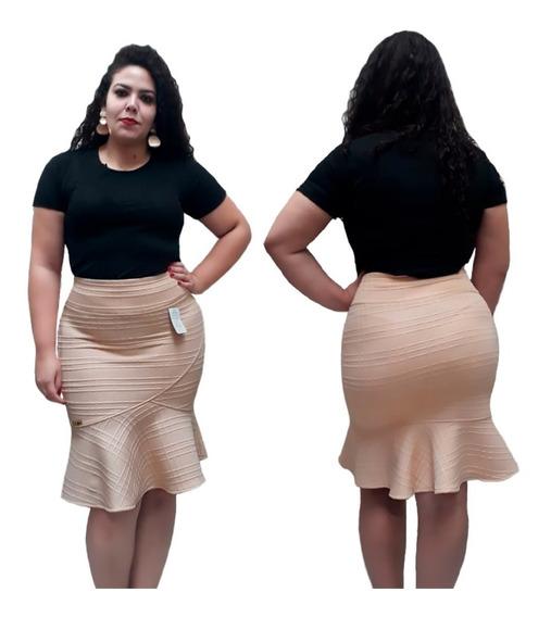 Saia Secretária Babado Godê Encorpado Moda Cristã 2019