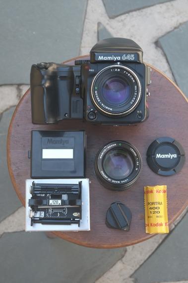 Câmera Mamiya 645 Pro Com 80mm 2.8, 150mm 3.5 E Brindes
