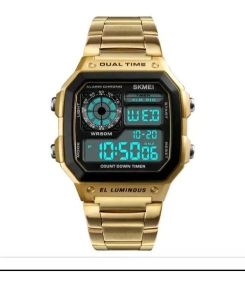 Relógio Digital Masculino Skmei 1335 Dourado Original Nf