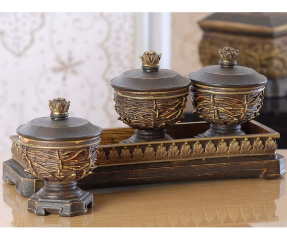 Tres Bowls Con Bandeja De Madera Dimontti