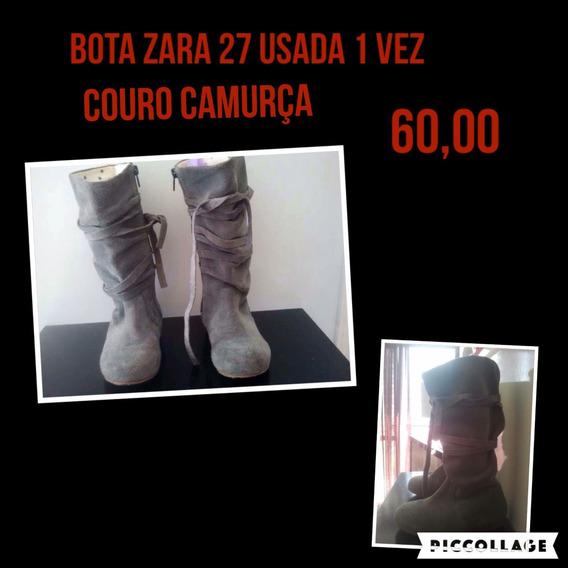 Bota Zara Couro Camurça