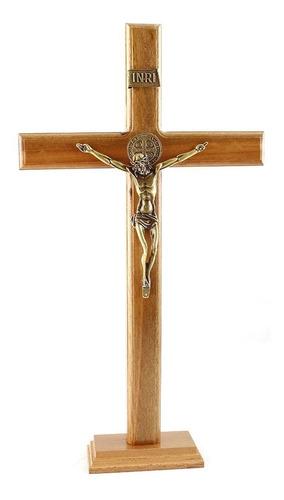 Crucifixo Com Medalha São Bento Para Parede Ou Mesa - 40cm