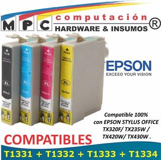 Kit 4 Cartuchos Comp Epson T133 Tx235w/420w/430w/tx320f New