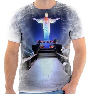 Camiseta - Camisa Cristo Redentor Jesus Rio De Janeiro Rj