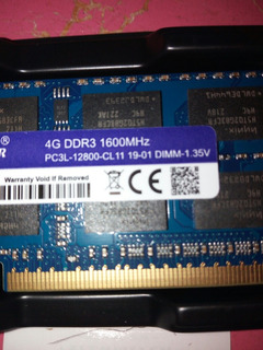 Memoria Ram 4gb Ddr3l 12800s 1600mhz Laptop 1.35v