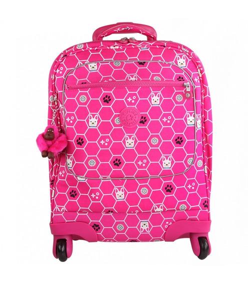 Mochila Rodinhas Licia + Lancheira Kipling Original Pink Dog